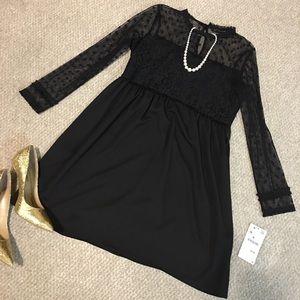 ZARA BLACK LACE COCKTAIL DRESS LONG SLEEVES MEDIUM